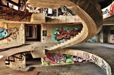 Fototapete Abandoned building covered with graffiti near Jerusalem.