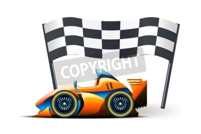 Fototapete Abbildung der Formel 1 und Flagge auf sie auf weißem Hintergrund