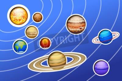 Fototapete Abbildung der gezogenen Sonnensystem mit Linien auf blauem Hintergrund