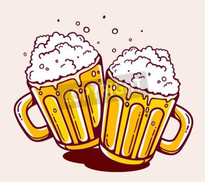 Fototapete Abbildung der hellen zwei Bierkrügen auf gelbem Hintergrund. Hand gezeichneter Linienkunstentwurf für Netz, Aufstellungsort, Werbung, Fahne, Plakat, Brett und Druck.
