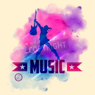 Fototapete Abbildung der Rockstar mit Gitarre für musikalischen Hintergrund