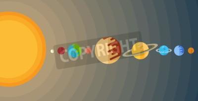 Fototapete Abbildung des Sonnensystems in einem flachen Stil.