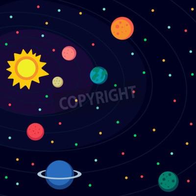 Fototapete Abbildung im Stil flach über den Weltraum.