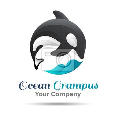 Abbildung. Logo-Schwertwal. Isoliert weißen Hintergrund. Grampus. Mörder . Das Konzept der Schutzwale. Entwurf . Vorlage für Ihr Unternehmen. Kreative abstrakte bunte.