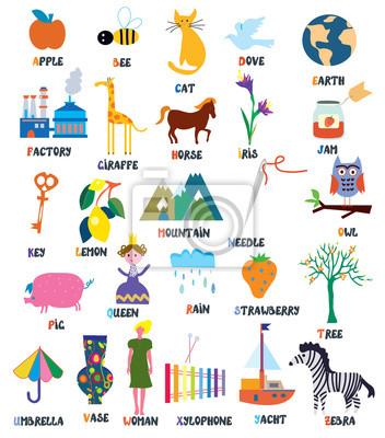 Abc für Kinder mit Tieren, Gegenständen, Spielzeug