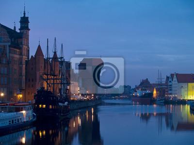 Fototapete Abend Szene auf Altstadt von Danzig