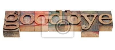 Abschied - Wort in Holz Buchdruck Typ