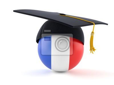 Abschlusshut Mit Frankreich Flagge Fototapete Fototapeten