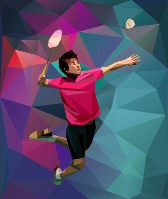 Abstrackt Badmintonspieler während Smash am Dreieck Hintergrund