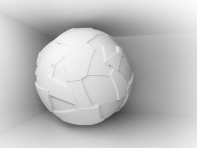 Fototapete Abstract 3d Hintergrund mit weißen großen fliegenden Kugel