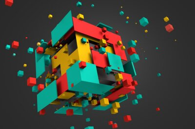 Fototapete Abstract 3D Rendering of Flying Cubes.