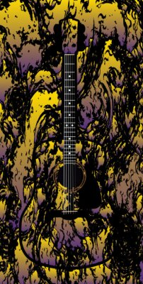Abstract Acoustic Guitar Over Multi Color Background