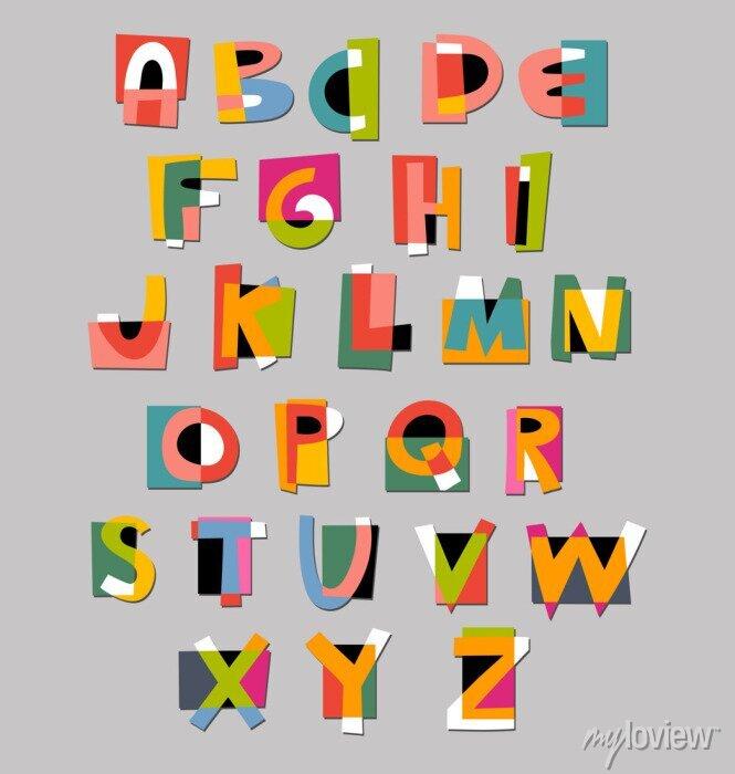 Fototapete Abstract alphabet Schriftart. Papier Ausschnitt Stil