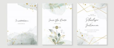 Fototapete Abstract art background vector. Luxury invitation card background with golden line art flower and botanical leaves, Organic shapes, Watercolor. Vector invite design for wedding and vip cover template.