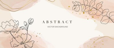 Fototapete Abstract art background vector. Luxury minimal style wallpaper with golden line art flower and botanical leaves, Organic shapes, Watercolor. Vector background for banner, poster, Web and packaging.