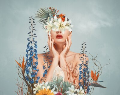 Fototapete Abstract art collage of young woman with flowers