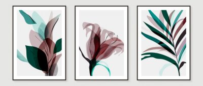 Fototapete Abstract art tropical leaves background vector. wall art design with watercolor art texture from floral and palm leaves, Jungle leaves, flower, x-ray botanical leaves design  Vector illustration.