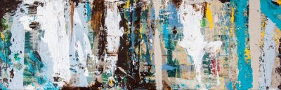 Fototapete Abstract art with splashes of multicolor paint, as a fun, creative & inspirational background texture - in long panorama / banner.