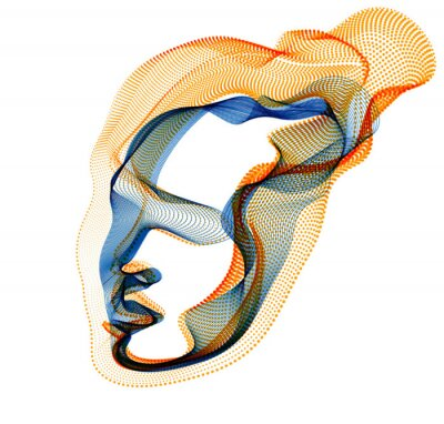 Fototapete Abstract artistic human head portrait made of dotted particles array, vector illustration of Artificial Intelligence, software digital visual interface.
