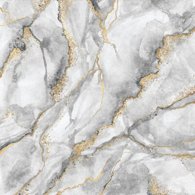Fototapete abstract background, creative texture of white marble with gold veins, artistic paint marbling, artificial fashionable stone, marbled surface