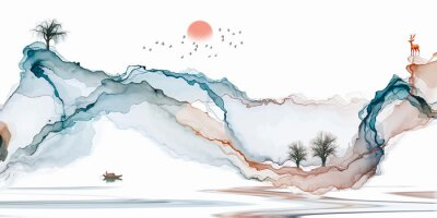 Fototapete Abstract background ink line decoration painting landscape artistic conception