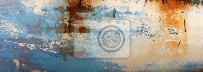 Fototapete Abstract background of a decaying old wooden blue boat panel with patches of white and brown showing through the fading paint.