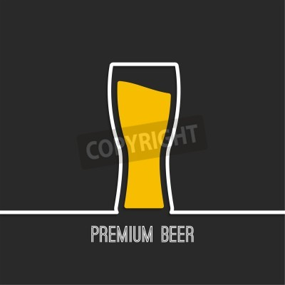 Fototapete Abstract background with Beer glass with yellow liquid. Logo for restarana, pub menu, cafe