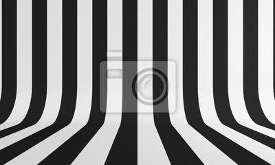 Fototapete Abstract background with black and white line. 3d rendering