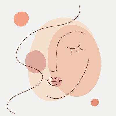 Fototapete Abstract beauty woman face icon. Minimalist line art style. Editable line