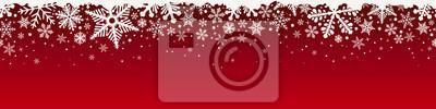 Fototapete Abstract Christmas top snowflake seamless border.