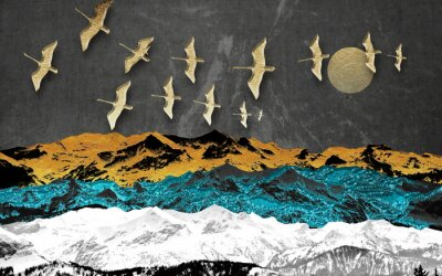 Fototapete Abstract colored mountains on a dark background, full moon, flock of birds
