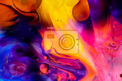 Fototapete Abstract colorful background. Oil and water drops. Rainbow blurred texture. 3d render illustration