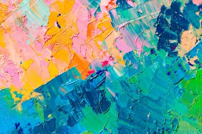 Fototapete Abstract colorful oil painting on canvas. Oil paint texture with brush and palette knife strokes. Multi colored wallpaper. Macro close up acrylic background. Modern art concept. Horizontal fragment.