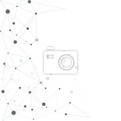 Fototapete Abstract connecting dots and lines. technology background connect white digital network. Vector