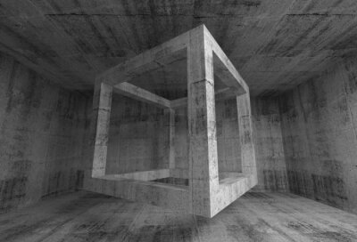 Fototapete Abstract dark gray concrete room interior. 3d flying cube