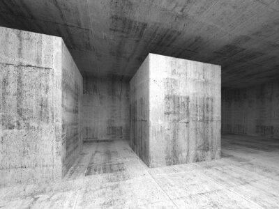 Fototapete Abstract dark gray empty concrete room, 3d interior