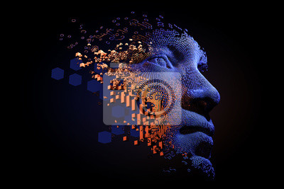 Fototapete Abstract digital human face.  Artificial intelligence concept of big data or cyber security. 3D illustration