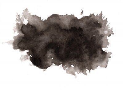 Fototapete Abstract expressive textured black ink or watercolor stain. Monochrome gradient dynamic isolated inky horizontal blob, dark thunderous cloud concept for texture, black friday banner design, background