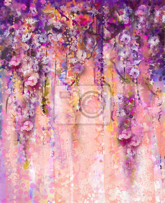 Abstract Flowers Watercolor Painting Spring Purple Flowers