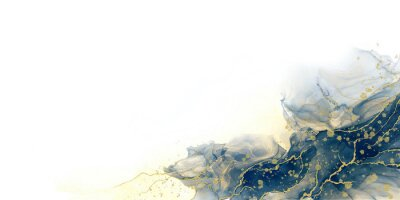 Fototapete Abstract fluid art painting background alcohol ink technique deep blue and gold with text space for banner, background in luxury style.