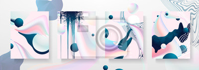 Fototapete Abstract Fluid creative templates, cards, color covers set. Geometric design, liquids, shapes. Trendy vector collection. Pastel and neon design, geometric fluid graphic shape, in vector background.