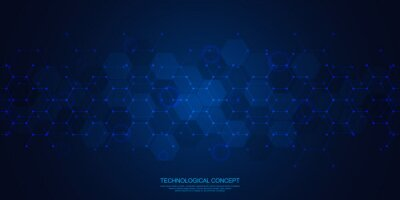 Fototapete Abstract geometric background with hexagons pattern. The design element of hexagonal shape. Concepts and ideas for technology, science, and medicine. Vector illustration