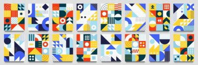 Fototapete Abstract geometric backgrounds. Neo geo pattern, minimalist retro poster graphics vector illustration set. Abstract pattern trendy with square and round colored