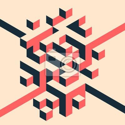 Fototapete Abstract geometric isometric shape layout design template background modern art style