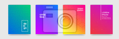 Fototapete Abstract geometric pattern background with line texture for business brochure cover design. Gradient Pink, orange, purple, blue and green vector banner poster template