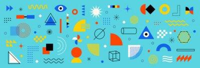 Fototapete Abstract geometric shapes set. Memphis design, bauhaus retro elements. For web, vintage, advertisement, commercial banner, poster,  billboard, sale, brochures, covers. Set of vector geometric shapes