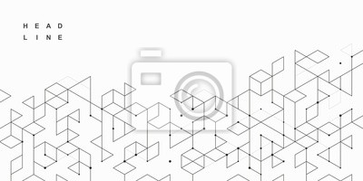 Fototapete Abstract geometric technological background. Vector creative design.