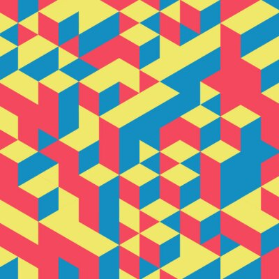 Fototapete Abstract geometrical 3d colorful background.