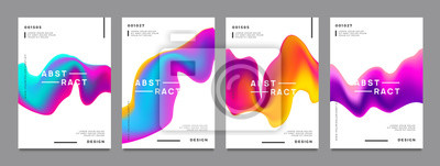 Fototapete Abstract gradient poster and cover design. Colorful fluid liquid shapes. Vector illustration.