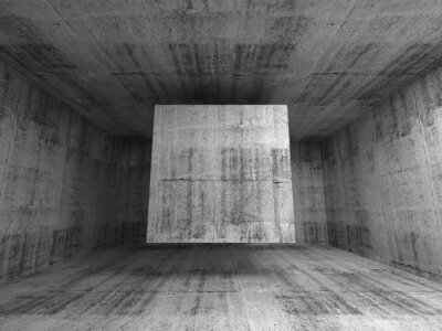 Fototapete Abstract gray room interior. 3d background with flying cube